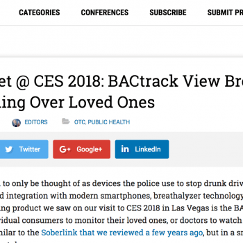 MedGadget Covers BACtrack View at the 2018 Consumer Electronics Show (CES)